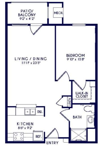 Grandhaven Manor II one bedroom floor plan