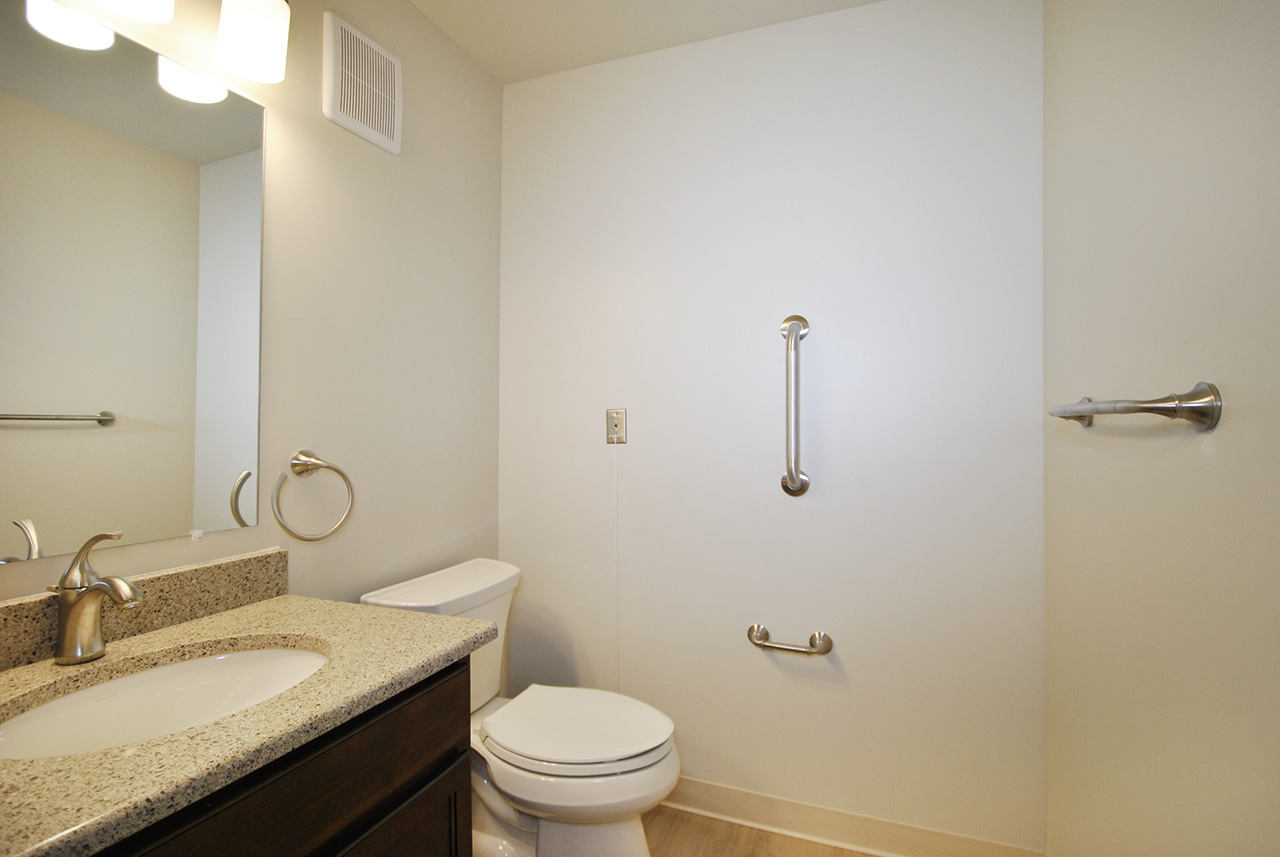 Grandhaven Manor bathroom with handles