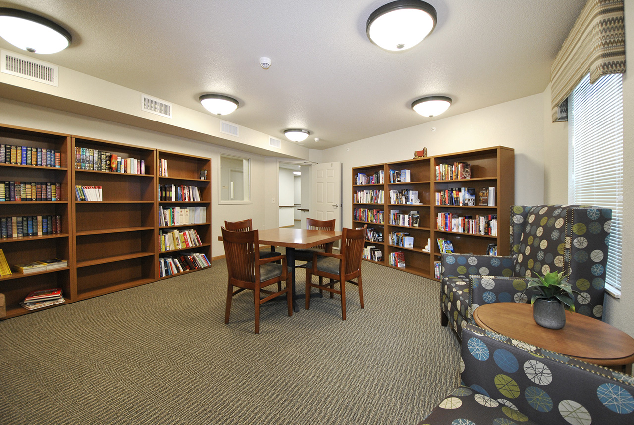 Activity room and study at Grandhaven Manor