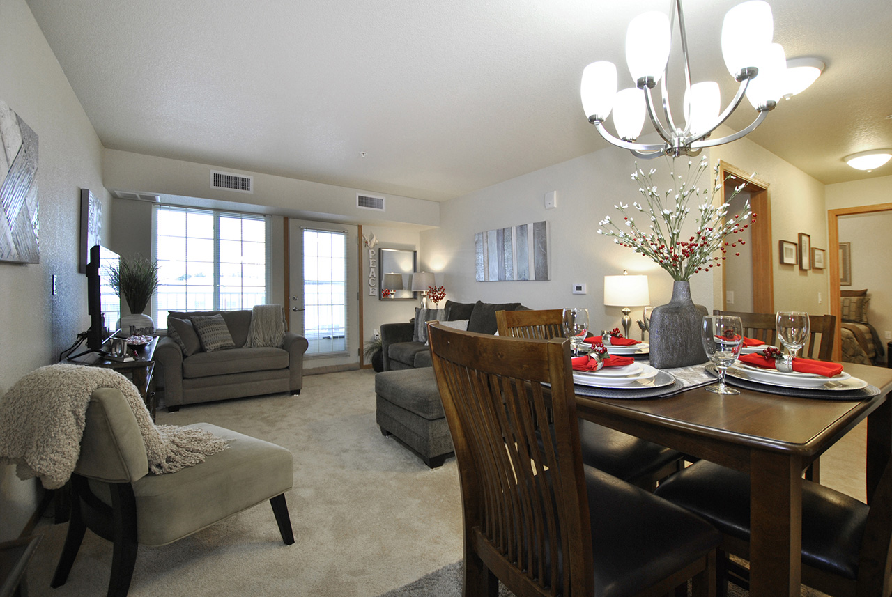 Furnished living space at Grandhaven Manor apartment