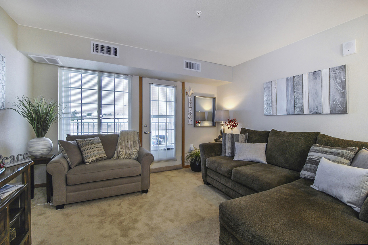 Living room area of Grandhaven Manor apartment