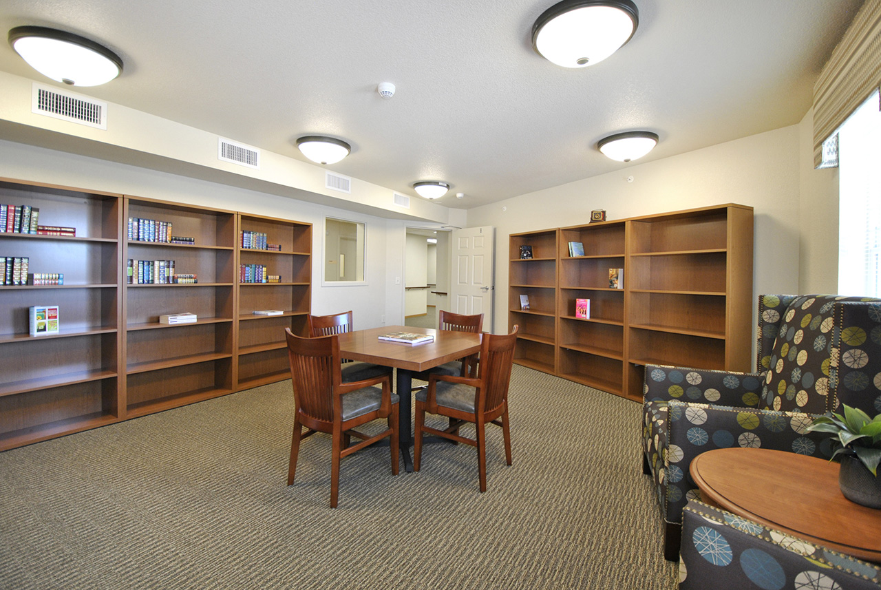 Activity and library space at Grandhaven Manor