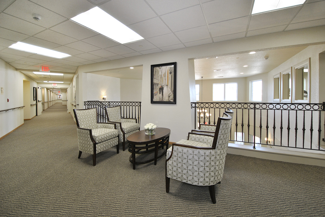 Seating area in hallway at Grandhaven Manor