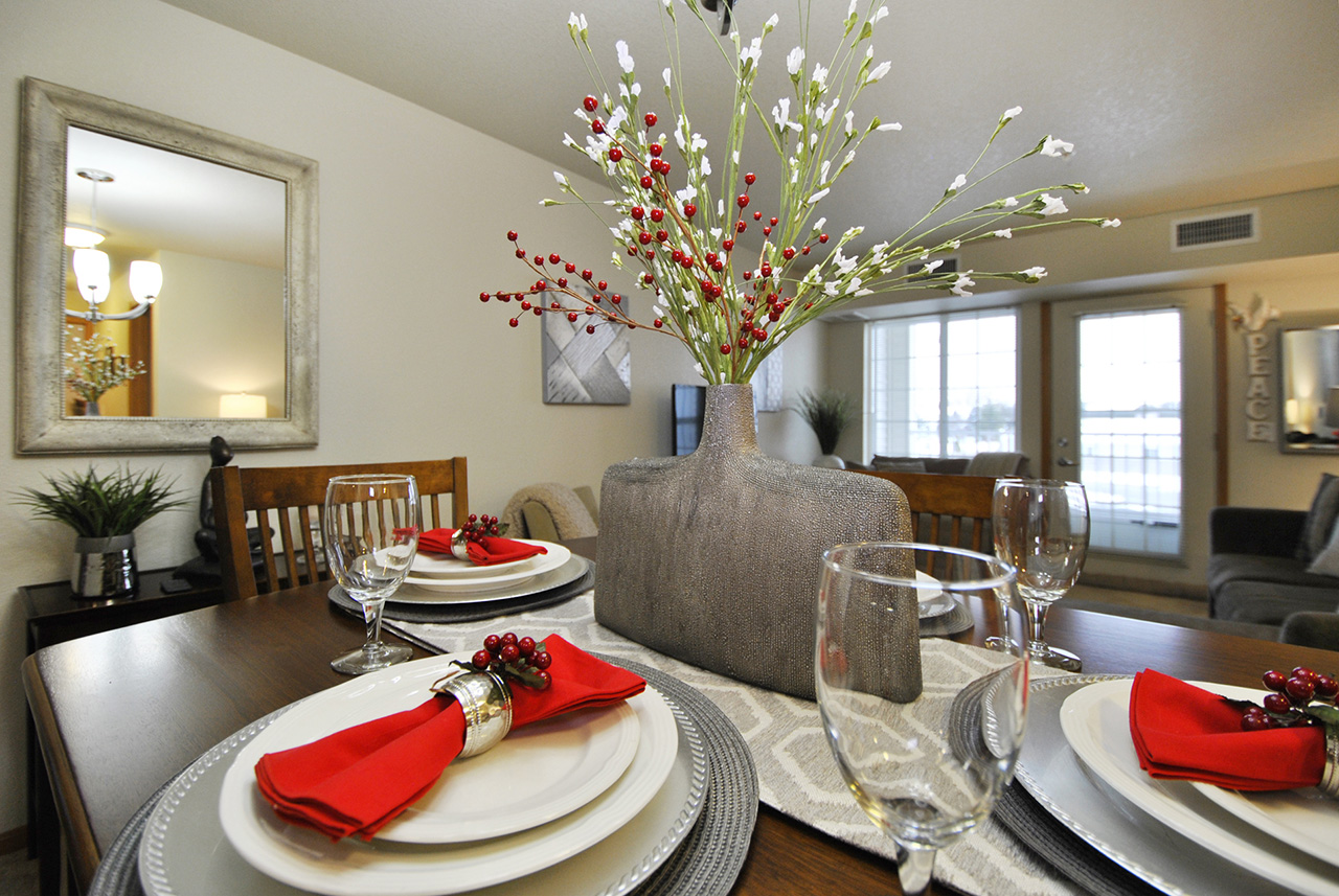 Set dining table in Grandhaven Manor apartment