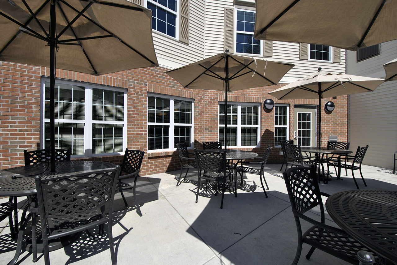 Outdoor seating area with umbrellas