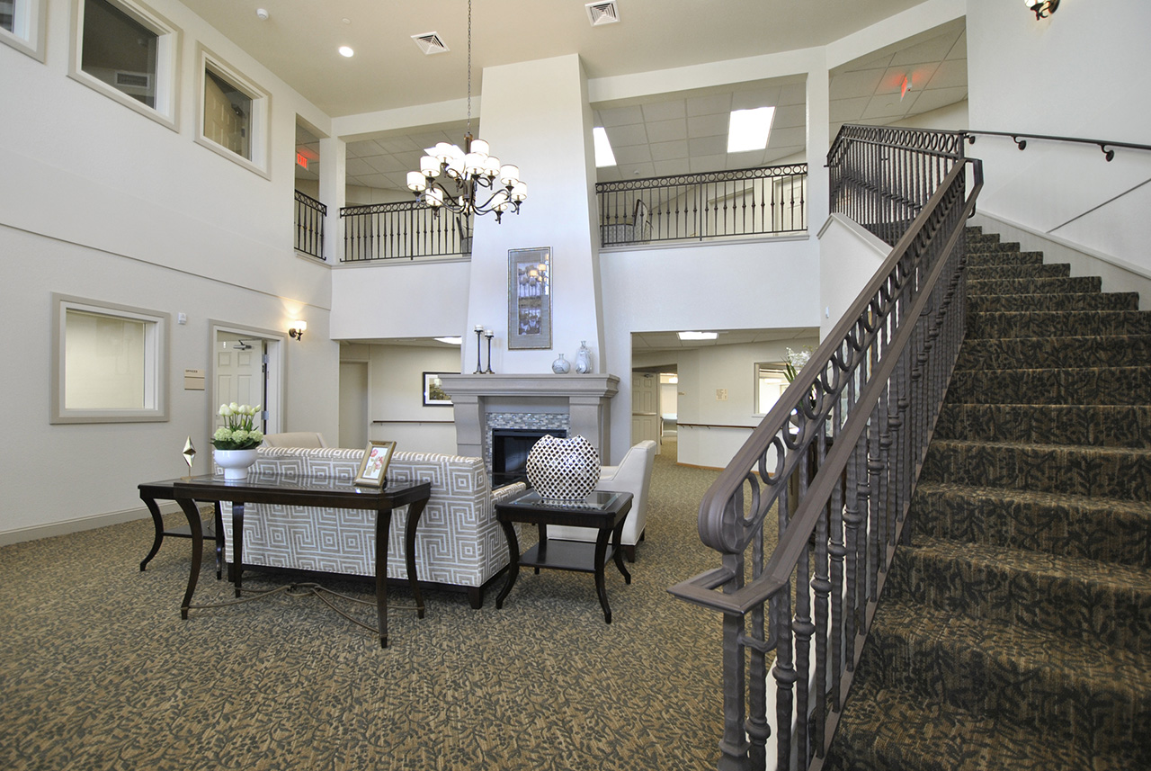 Staircase and lobby at Grandhaven Manor