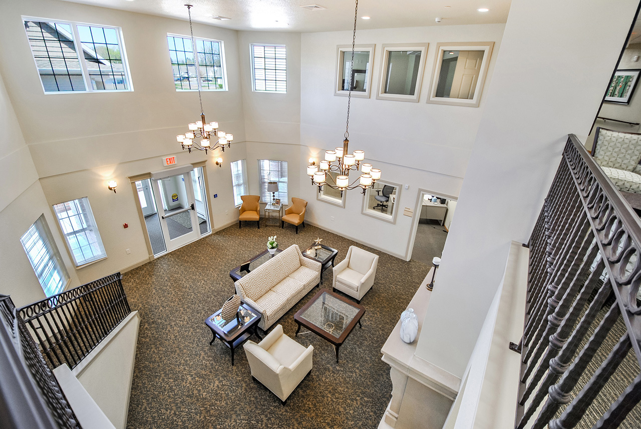 Grandhaven Manor interior lobby with seating area