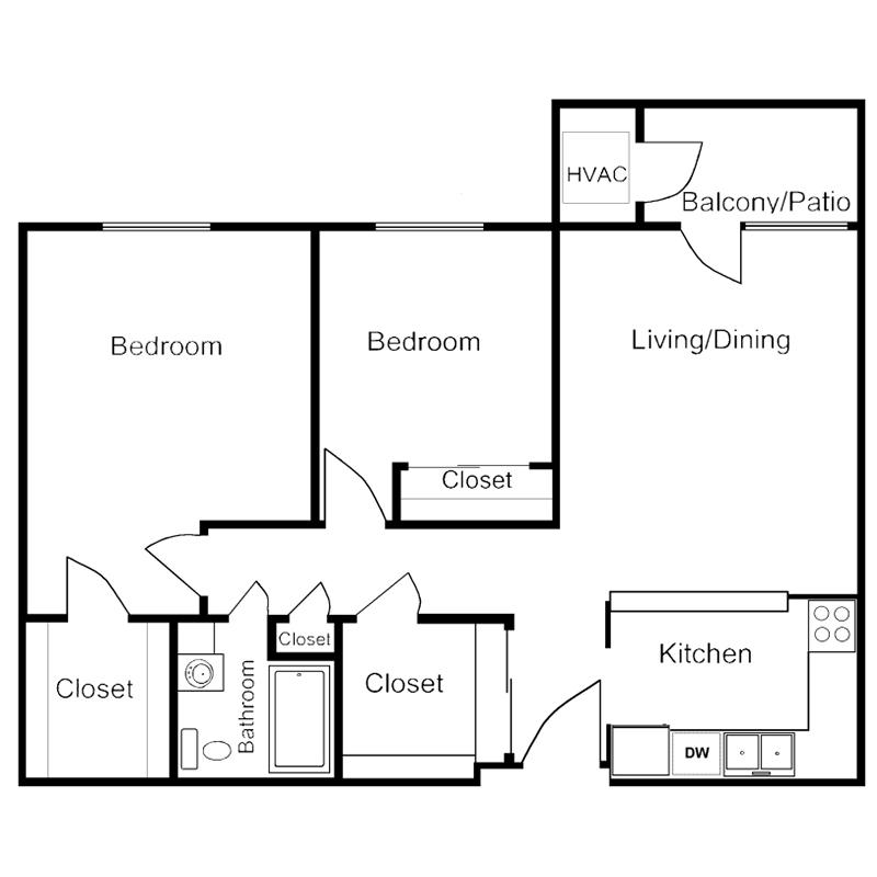 Grand Haven Two Bedroom Floor Plan